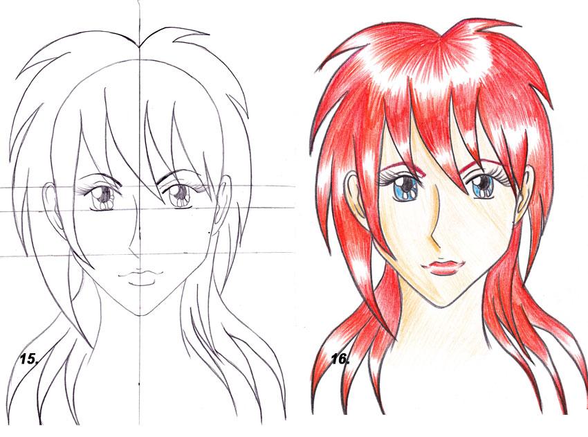 Как рисовать аниме карандашом: рисуем прически, пряди волос