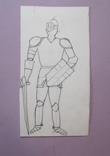 Рыцарь в доспехах - рисуем цветными карандашами