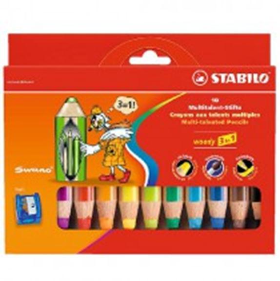 Утолщенные цветные карандаши STABILO Woody 3 in 1