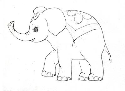 Рисунок слона поэтапно
