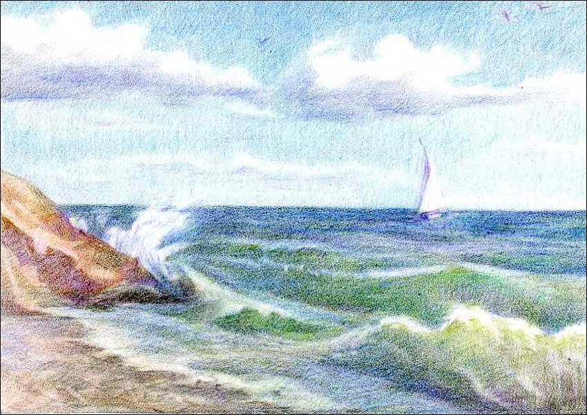 детский рисунок моря карандашом