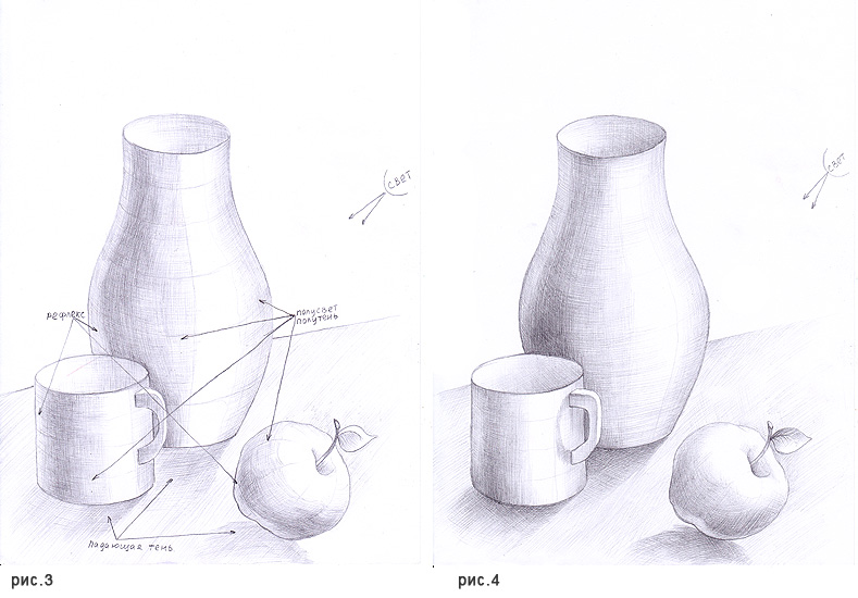 Рисунок кувшина с яблоком в карандаше