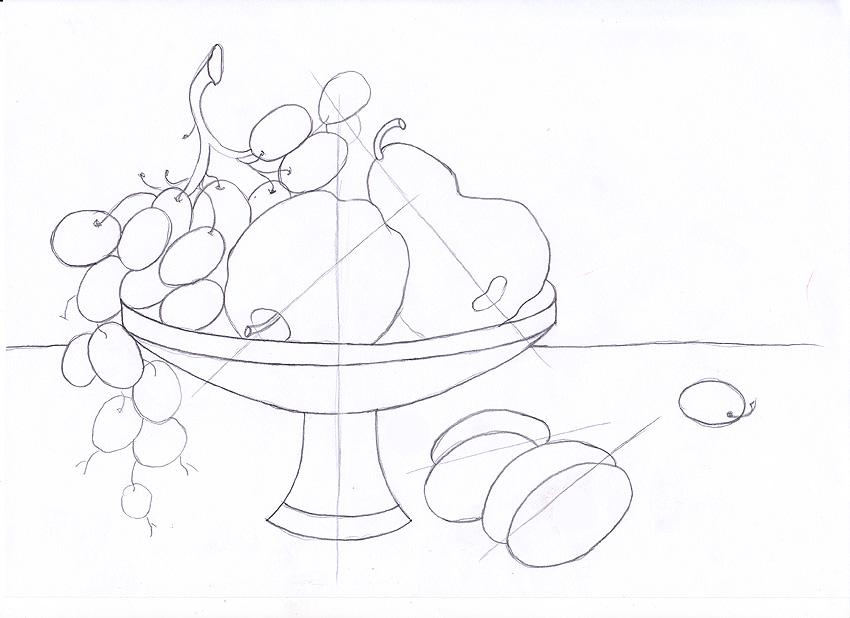 Натюрморт. Фрукты на блюде. Материалы: Цветные карандаши.