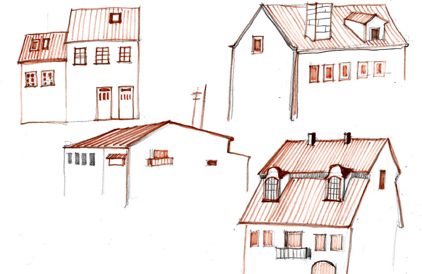 Декоративная графика «Городские домики, крыши». Работа  фломастерами.