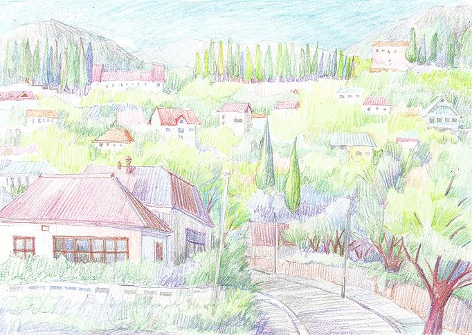 Мастер класс пейзажа цветными карандашами