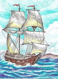 Рисунки пастелью корабль