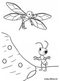 Раскраски стрекоза и муравей басня