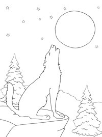 Волк раскраска луна
