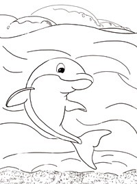 Дельфин в море раскраска