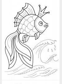 Рисунок золотой рыбки для раскраски